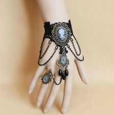 New Retro style Black Lace Bracelet Ring sets Women Girl Dancing Party Jewelry