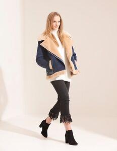 Charcoal Fashion Women's Navy Oversize Shearling Aviator Biker Jacket