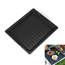 Cast Iron Frying Pan Non-Stick BBQ Skillet Reversible Grill Griddle Plate