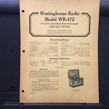 Original Service Manual for Westinghouse WR-472 Radio Receivers