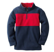 Jumping Beans Microfleece 1/4 zip Pullover Sweater Jacket NWT M 5 6 Navy Red