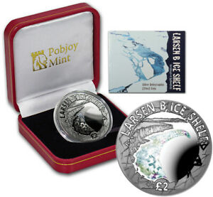 British Antarctic Territory 2 Pounds 2017 Silver Proof Hologram Effect Ice Shelf