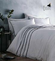 Pom Pom Duvet Cover Modern White Grey Tassel Trim Quilt Cover Set Bedding Set