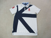 VINTAGE Tommy Hilfiger Polo Shirt Adult Large White Blue Dragon Spell Out 90s *