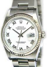 Rolex Datejust Stainless Steel White Roman Dial Mens 36mm Automatic Watch 16234