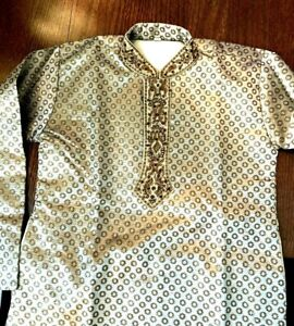 Traditional Eastern Tunic Handmade, Gold Brocade, Embroidered, Lined, XS, NWOT