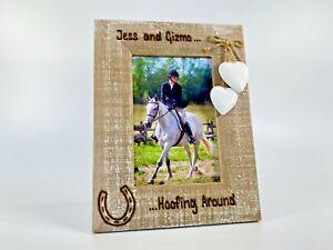 Hoofing Around   Horse Pony    Engraved Personalised Photo Driftwood Frame
