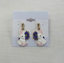 Cute Gold Plated White Easter Bunny Dangle Drop Earrings NEW