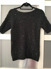 Vince By Vince Camino Black Sequined Boat Neck Pull Over Sweater In XS MSRP $229