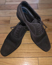 Ermenegildo Zegna Mens Dark Brown Oxford Suede Lace Up Shoes Handmade Italy Sz 9