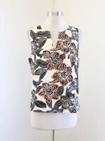 J Crew Beige Black Notched Shell Blouse Tank Top Polynesian Floral Print Size 8