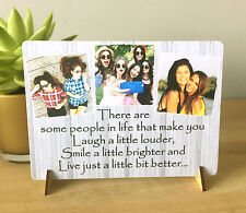 "8x6"" Personalised Plaque with Photos friendship quote best friends gift NEW"