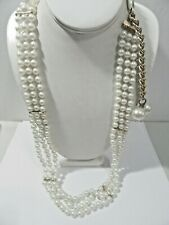 White Beaded Plastic Belt With Long Dangle Bauble Beads Vintage Hong Kong 1980'S