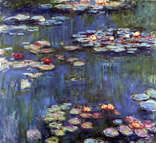 Charming Oil painting Claude Monet - Water-Lilies flowers in pond on canvas