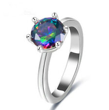 Silver Round Cut Cubic Zirconia Prong Setting Lovely Wedding Ring Size 8