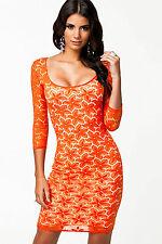 Abito cono ricamato Aderente nudo Scollo Cerimonia Floral Lace Party Dress M