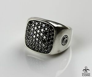 David Yurman 1.75 CTW Black Diamonds &  Sterling Silver PAVÉ SIGNET MEN'S RING
