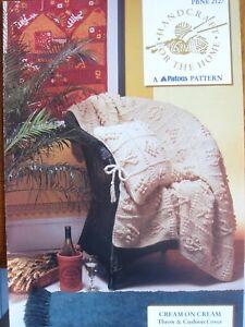 "PBNE 2127- ARAN THROW & CUSHION COVER KNITTING PATTERN - ""CREAM ON CREAM"""