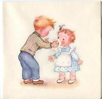 VINTAGE CUTE BOY GIRL CHILDREN HANKERCHIEF SNEEZING COLD FRIENDS CARD ART PRINT