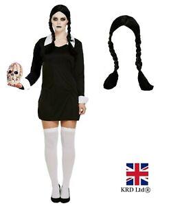 Halloween SCARY DAUGHTER Fancy Dress Costume Wednesday Adams Wig Ladies Girls UK