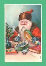 1911 CHRISTMAS POSTCARD SANTA CLAUS LONG PIPE PACKS TOY-SOLDIERS IN TIN  BOOKS