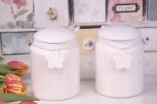Set of 2 Vintage ceramic Jars with White Ceramic Hearts NEW