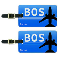 Boston MA (BOS) Airport Code Luggage Suitcase Carry-On ID Tags Set of 2