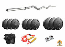 GB Home Gym Set 20 Kg Plates, 3 ft curl Rod, Gloves, ROPE for Beginners