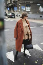H&M Premium Quality Oversized Rust Brown Wool Coat In Size EU36