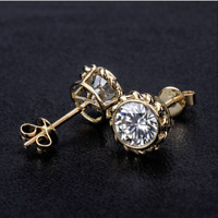 14K Yellow Gold FN 2Ct Round Moissanite Screw Back Solitaire Stud Earrings