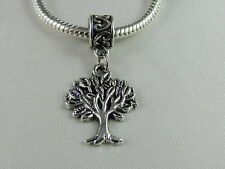 SILVER PLATED TREE OF LIFE DANGLE CHARMS FOR ALL EUROPEAN STYLE CHARM BRACELETS