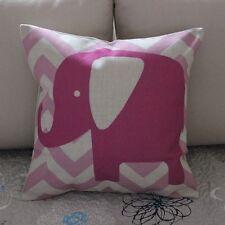 Elephant Pink Zig Zag Cotton Linen Cushion Cover Throw Pillow Home Decor B373
