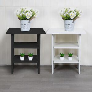 2 Tier Wooden Side End Table Nightstand Furniture Living Room Bedroom Storage