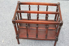 Antique Ornate English Mahogany Magazine Rack Canterbury