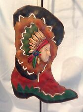 """Boot w/ Native American Indian Chief Ornament 5 3/4"""" Metal w/ Cutouts $6.95"""