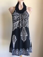 Womens Short Dress Polyester Spandex Black and white one size will fit 8 10 12