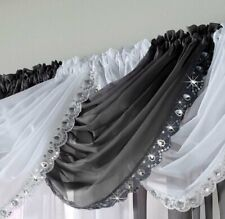 Black Jewelled Swag Sequin Bejewelled Sparkle Voile Net Curtain Swag Single Swag