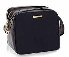 Giorgio Armani Patent faux Leather Black Makeup train Case Pouch travel Bag New