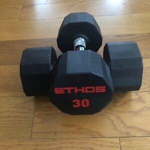 Brand New Ethos 30LB Rubber Hex Dumbbell Pair - New