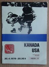 Official programs World cup 1978 ice-hockey Canada - USA from Czechoslovakia