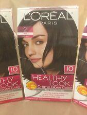 3 X L'Oreal Healthy Look Creme Gloss Hair Color #2 Black Cafe' Noir ORIGINAL FOR