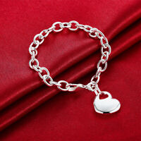 925 Sterling Silver Filled Women's Solid Love Heart Charm Bracelet Bangle Gift