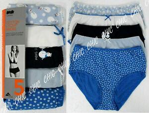 Ex M & S Ladies 5 Pack Cotton Lycra Midis Briefs Knickers Underwear Size 8 10