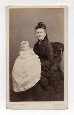 PHOTO CDV Carte de visite Bébé Femme Robe Baptême A. DUVAL TOURS Vers 1870