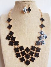 Gold Plated Black Fashion Cluster Enamel Bib Bubble Necklace Earrings Set