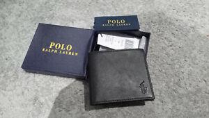Polo ralph lauren black mens bifold wallet 4 card leather wallet