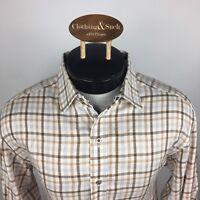 Robert Graham Mens Large Long Sleeve Dress Shirt Brown Checked Flip Cuff