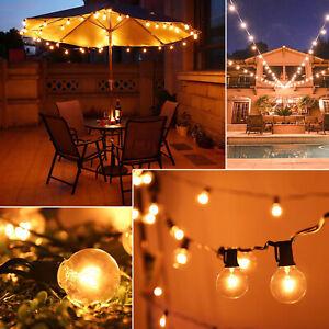 50FT 50 Bulbs Outdoor Garden Festoon String Light G40 Globe Patio Party Wedding