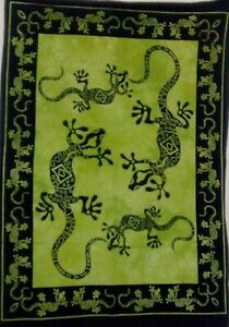 Wall Hanging Small Poster Lizard Design Cotton Tapestry Green Color Indian Art