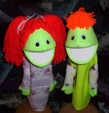 "Black light Green Boy & Girl  Puppet Set- 13"" tall-Ministry, Teacher,Christian"